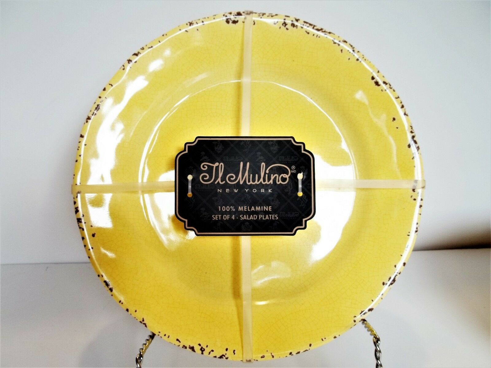 IL MULINO Melamine Salad Plate Set RUSTIC YELLOW, Small, Salad, Side, NEW X 4