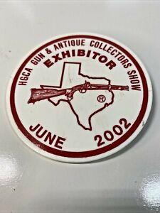 HGCA Gun & Antique Collectors Show Exhibitor Badge Button Pin Pinback June 2002