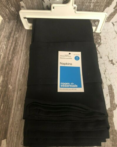 """NAPKINS by Room Essentials in Black Poly Cotton 18/"""" x 18/"""" NWT set of 4"""