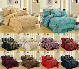 New 7Pc (Piece) Comforter Set Quilted Bedspread Double & King Size ... : king size quilted bedspread - Adamdwight.com