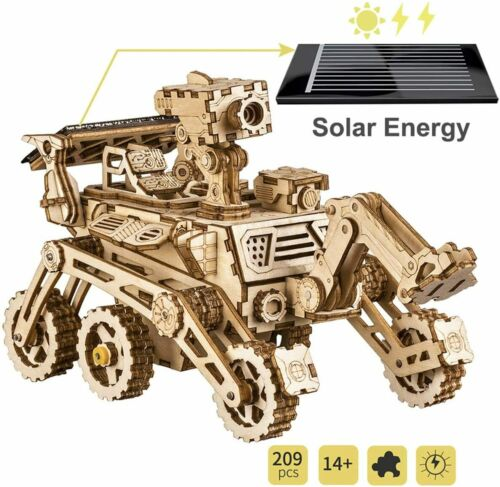 LS402 Robotime solarbetriebener Moon Buggy 3D Holzpuzzle Modell Nr
