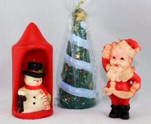Vintage Christmas Candles.Details About Vintage Christmas Candles Santa Snowman And Christmas Tree Retro Holiday Lot 3