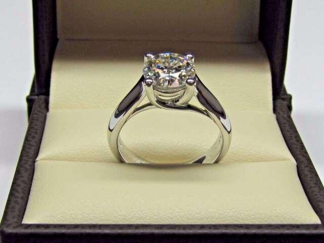 Certified 2.10Ct Near White Moissanite Engagement Wedding Ring 14K White Gold