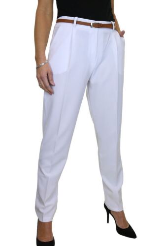 Washable Smart Office Day Trousers FREE Belt White Size 8-22 1539-5 ICE