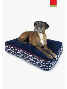 Lit d'oreiller pour chien John Whitaker Stanbury - rembourrage épais - luxe - confortable - marine - fpp
