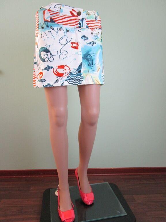 Nautical Sailor Sea Life Pattern Marine Motif Mini Skirt Vtg Style sz S M C135