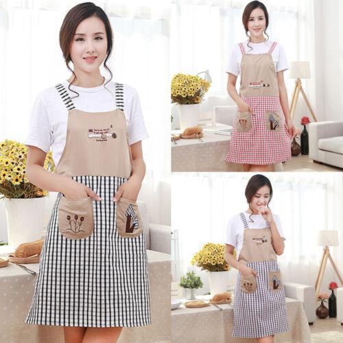 1 New Women Cooking Kitchen Restauarant Bib Apron Dress With Pocket Home Baking