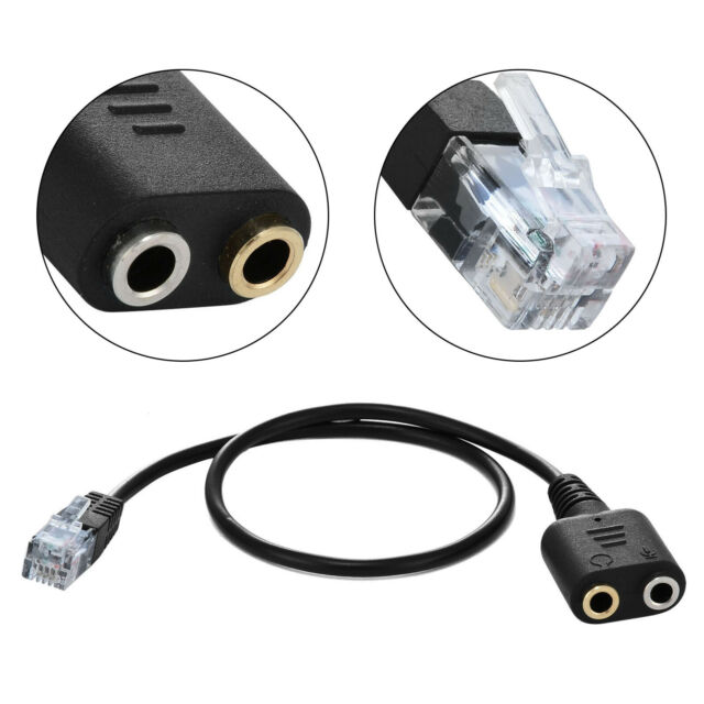 4P4C RJ9//RJ10 to 3.5mm Female Headset Cable Adapter Telephone Cord 30CM