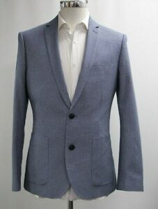 "38r Obligatorisch Men's ""penguin"" Blue Patterned Slim Fit Blazer . Sample 4243"