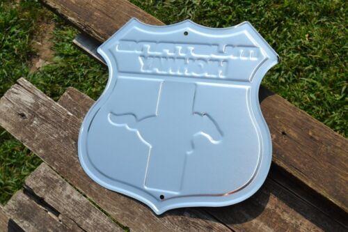 Ford Mustang Highway Shield Tin Metal Sign Tri-Bar Running Horse Dealership