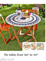 Mosaic Tile Elastic Fitted Vinyl Outdoor 48 Round Patio Table Cover Tablecloth