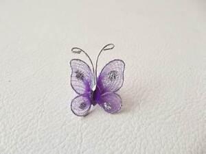 Wholesale-pack-of-100-Organza-Gauze-Butterflies-GB23-Purple-20mm-x-25mm