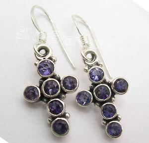 925-Sterling-Silver-Real-IOLITE-Multistone-Combination-CROSS-Earrings-1-3-034