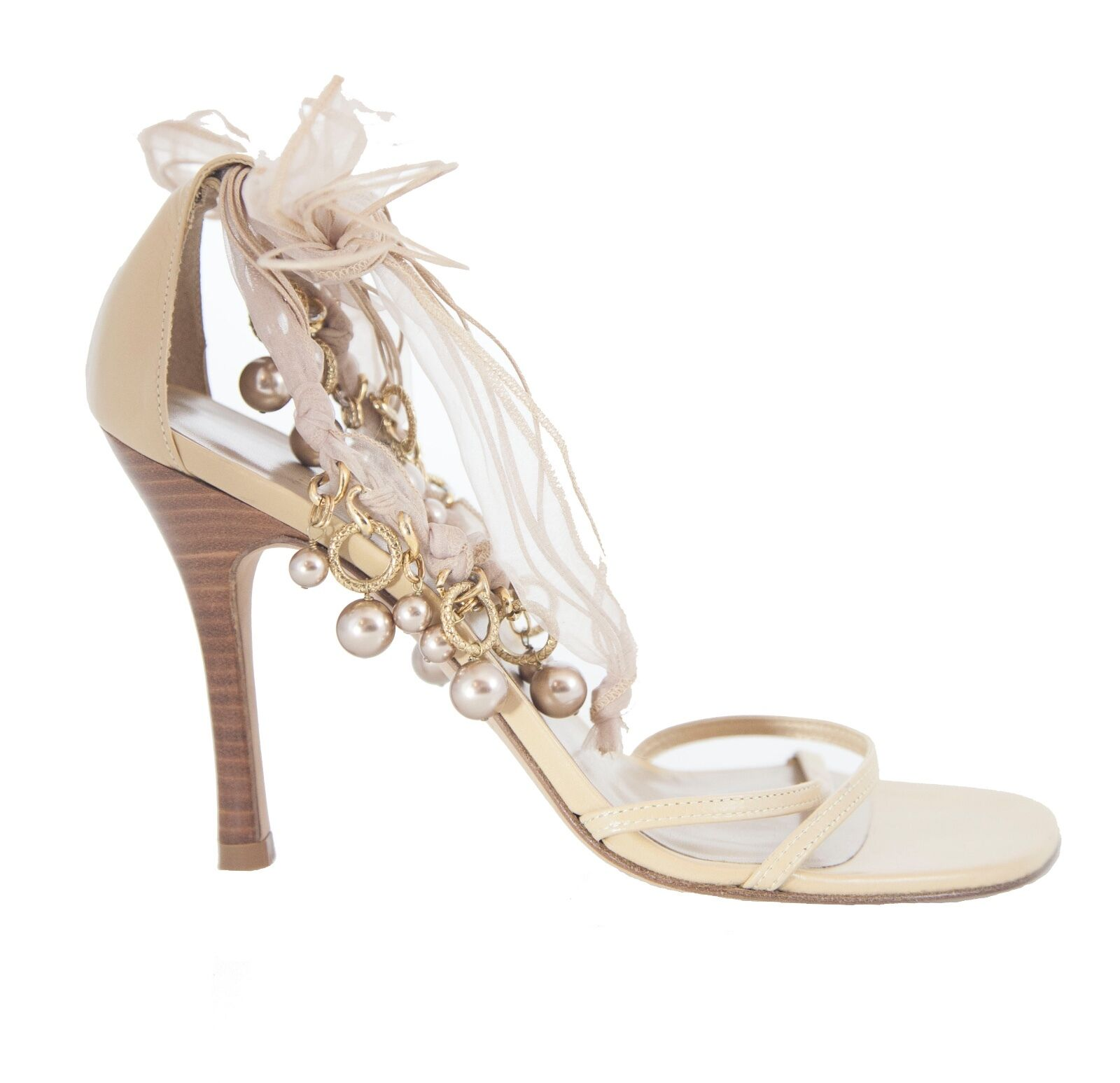 Stuart Weitzman sandals tan leather open-toe tie detail strappy sandals Weitzman size 6.5 NEW 729285