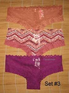 3 Victoria/'s Secret Pink Panties Floral Date Lace Cheekster Hipster Medium
