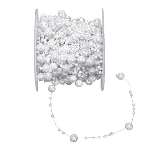 12 Meter Perlenschnur weiß -Kette Rolle Girlande// 8mm+3mm Band