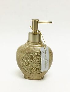 NEW-RAYMOND-WAITES-RESIN-METALLIC-GOLD-TAN-BATHROOM-LOTION-SOAP-DISPENSER