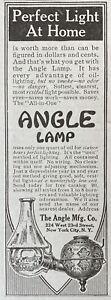 1912 AD(XH25)~THE ANGLE MFG. CO. NYC. THE ANGLE KEROSENE OIL LAMP