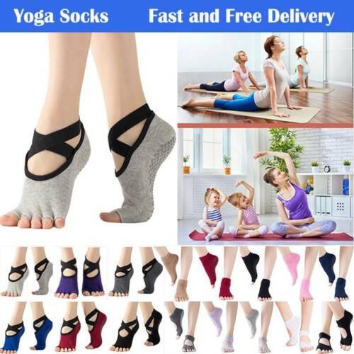 Women Ladies Non-Slip Grip Toeless Yoga Socks Pilates Barre Ballet Dance Sport