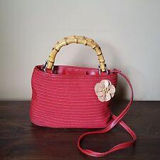 Liz Claiborne Red Ribbon Purse Handbag Shoulder Bag Bamboo Handles Flower