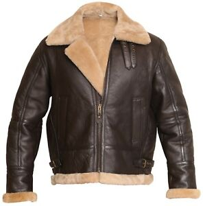 5e58e63f6 Men's RAF Brown Real Shearling Real Sheepskin Leather Bomber Jacket ...