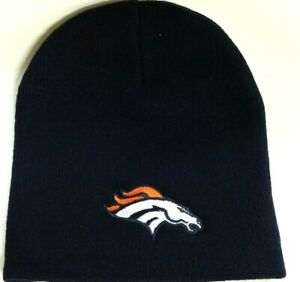 bfd854c08 Details about NFL Denver Broncos Winter Knit Hat, NEW (Navy Blue Beanie)