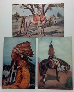 Set of 3 antique Western Chief / Scouts Postcards 1910, 1ct Franklin stamps