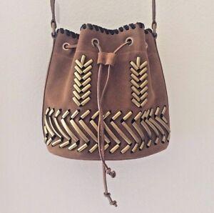 6fad93b65fd NWB Alberta Ferretti Suede Hardware Trim Bucket Bag Brown Adjustable ...