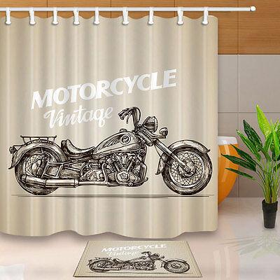 "Waterproof Fabric Shower Curtain Bathroom decor 71/"" 12 hooks motorcycle vintage"