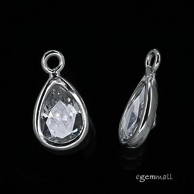 2x Sterling Silver Clear CZ Small Teardrop Charm Beads #97587