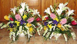 Spring flower arrangements church silk wedding altar vases image is loading spring flower arrangements church silk wedding altar vases mightylinksfo