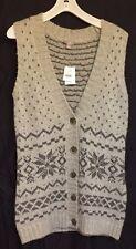 NWT J Jill Gray Fair Isle Snowflake Sweater Vest Womens S Button Long Sleeveless
