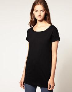 ASOS-Women-039-s-Roll-Sleeve-Boyfriend-Tee-Top-Black-Cotton-Sizes-6-18-New-NWT