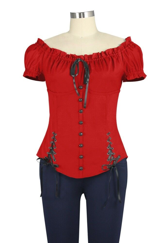 Victorian Gothic Steampunk Peasant Renaissance Corset Lace Red Top Blouse Shirt