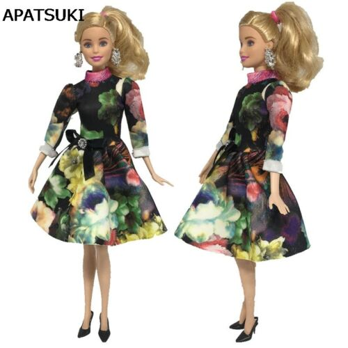 "Fashion Clothes For 11.5/"" Doll Dress 1:6 Green Flower Long Sleeve Short Dresses"