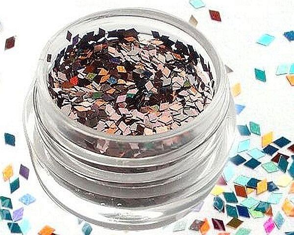 Nail Art Glitter Zubehör Pailetten Schimmer als Viereck in der Farbe Bronze