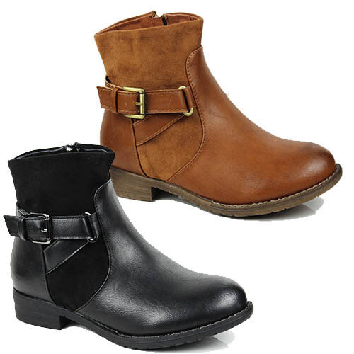 WOMENS LOW BLOCK HEEL BUCKLE FASHION CHELSEA ANKLE BOOTS LADIES SHOES SIZE 3-8