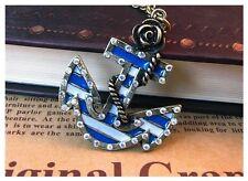 Vintage Retro Jeweled Marine Anchor Rose Pendant Bronze Necklace in Gift Bag