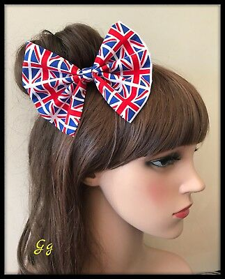 Union Jack Hair Bow Hairband Headband Royal Wedding Hair Tie Band Dress Fabric