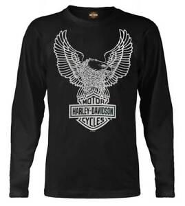 Harley-Davidson-Men-039-s-Eagle-Long-Sleeve-T-Shirt-Black-Graphic-Tee-30296660