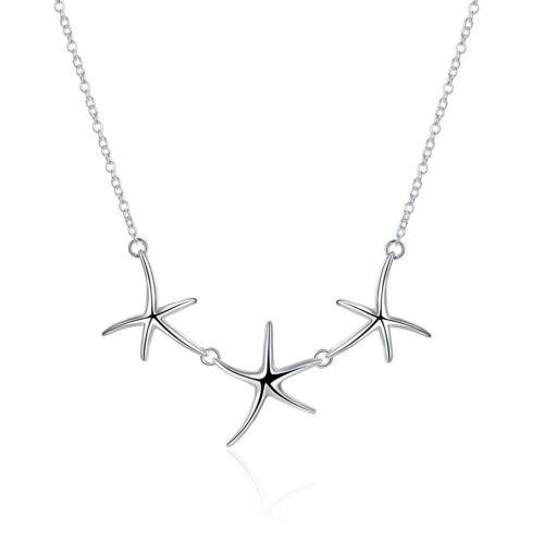 925 Sterling Silver Fashion Jewelry belle Trois étoiles de mer Hommes Femmes collier N124
