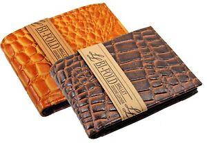 Genuine-Leather-Mens-Bifold-Wallet-Center-Flip-Croco-Print-Croc-Western-Cowboy