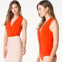 Bebe Silk Sleeveless Wrap Bodysuit Top $79 Small S