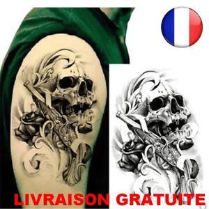 Tattoo Homme Pistolet Impermeables Epaule Crane Bras Corps Tatouages