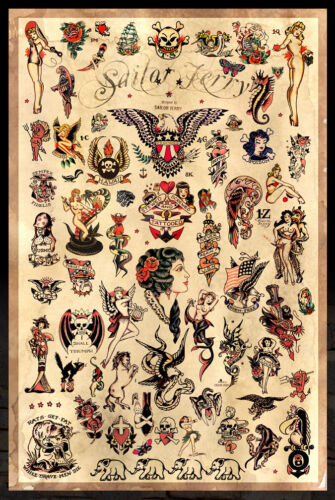 """24/""""x36/"""" Sailor Jerry Tattoo Flash Poster Version. 3 - Free S//H -"""