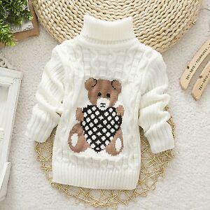 6d506a8cfe19 Baby Sweater Boys Pullover Turtleneck Knitwear Cartoon Bear Winter ...