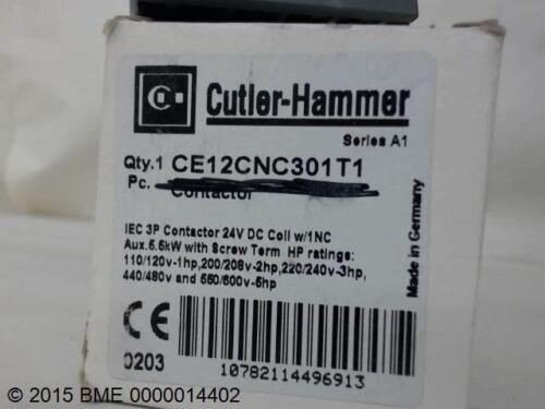 600 VAC- NEW SER A 24V DC 16A CUTLER HAMMER CONTACTOR CE12CNC301T1