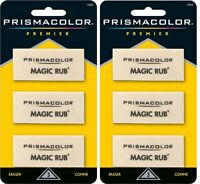 2 Packs - Sanford Prismacolor Premier Magic Rub Erasers - 6 Total - Sealed Packs
