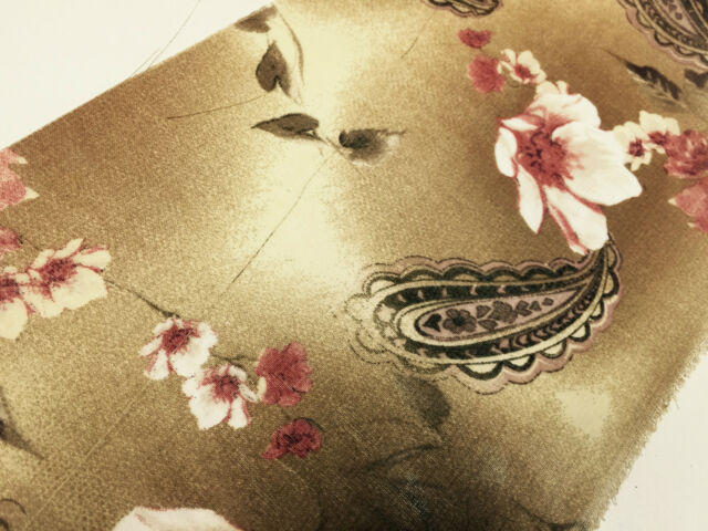 """Brown Paisley Leaf Print With Pastel Flower Georgette Chiffon 58"""" Wide. M145-10"""