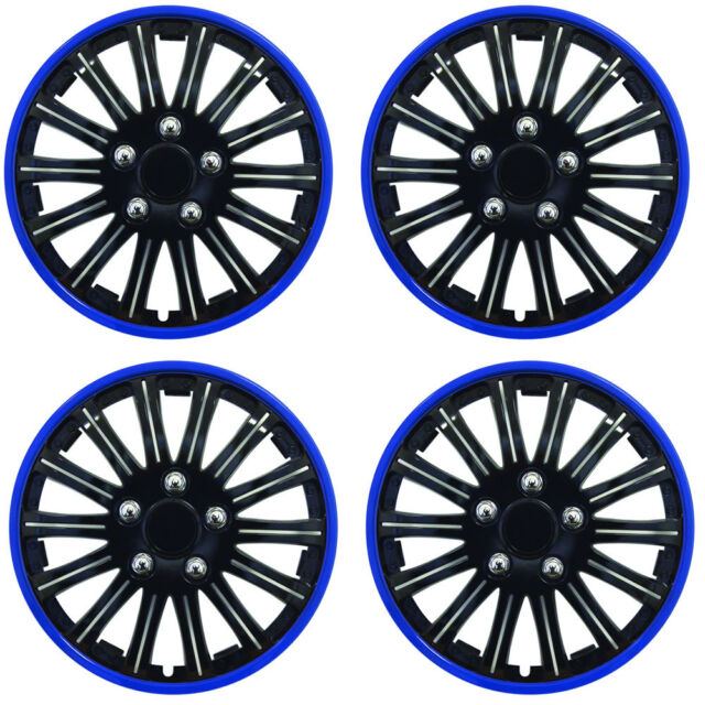 "15"" Inch Lightning Sports Wheel Cover Trim Set Black With Blue Ring Rims (4Pcs)"